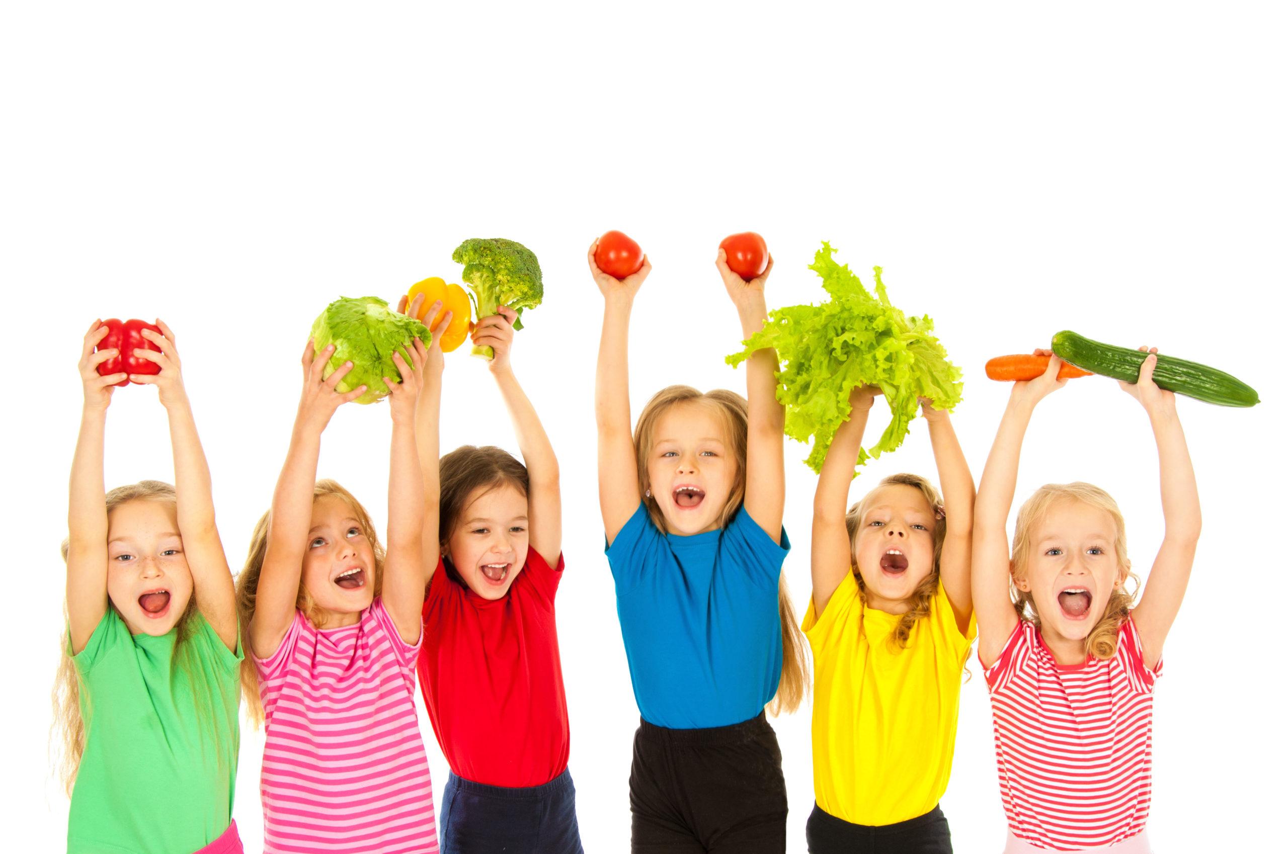 Children  with vegetables