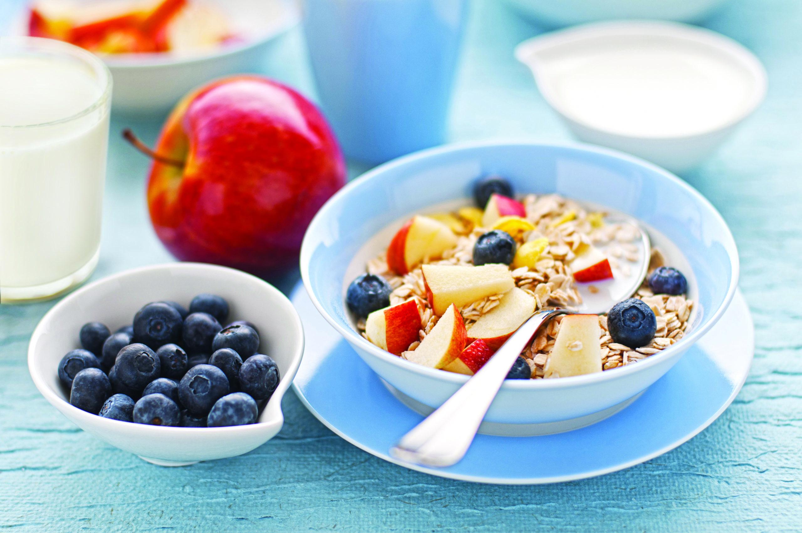 healthy breakfast food groups balanced meal best brand blue milk cereal fruit